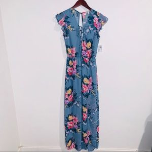 NWT Blue Floral Maxi Dress - Size XS